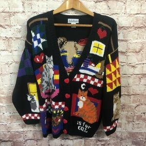 XL Vintage Cat Lady Heavy Knit Cardigan Sweater